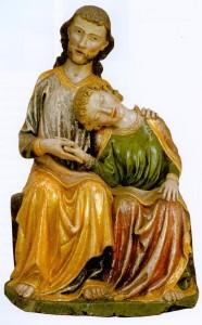 Apóstol Juan sobre el pecho de Cristo Iglesia del Monasterio Cisterciense de Heiligkreuztal Suabia, año 1310